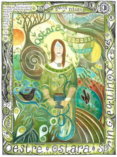 """Ostara, the Spring Equinox. This is a time of beginnings, action, planting spells, and of tending the gardens."""